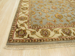 EORC Hand-knotted Wool & Silk Gray Traditional Oriental Jaipur-Silk flower Rug