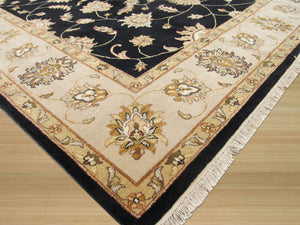 EORC Hand-knotted Wool Black Traditional Oriental Agra Rug