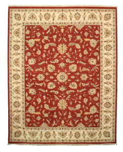 EORC Hand-knotted Wool Red Traditional Oriental Agra Rug