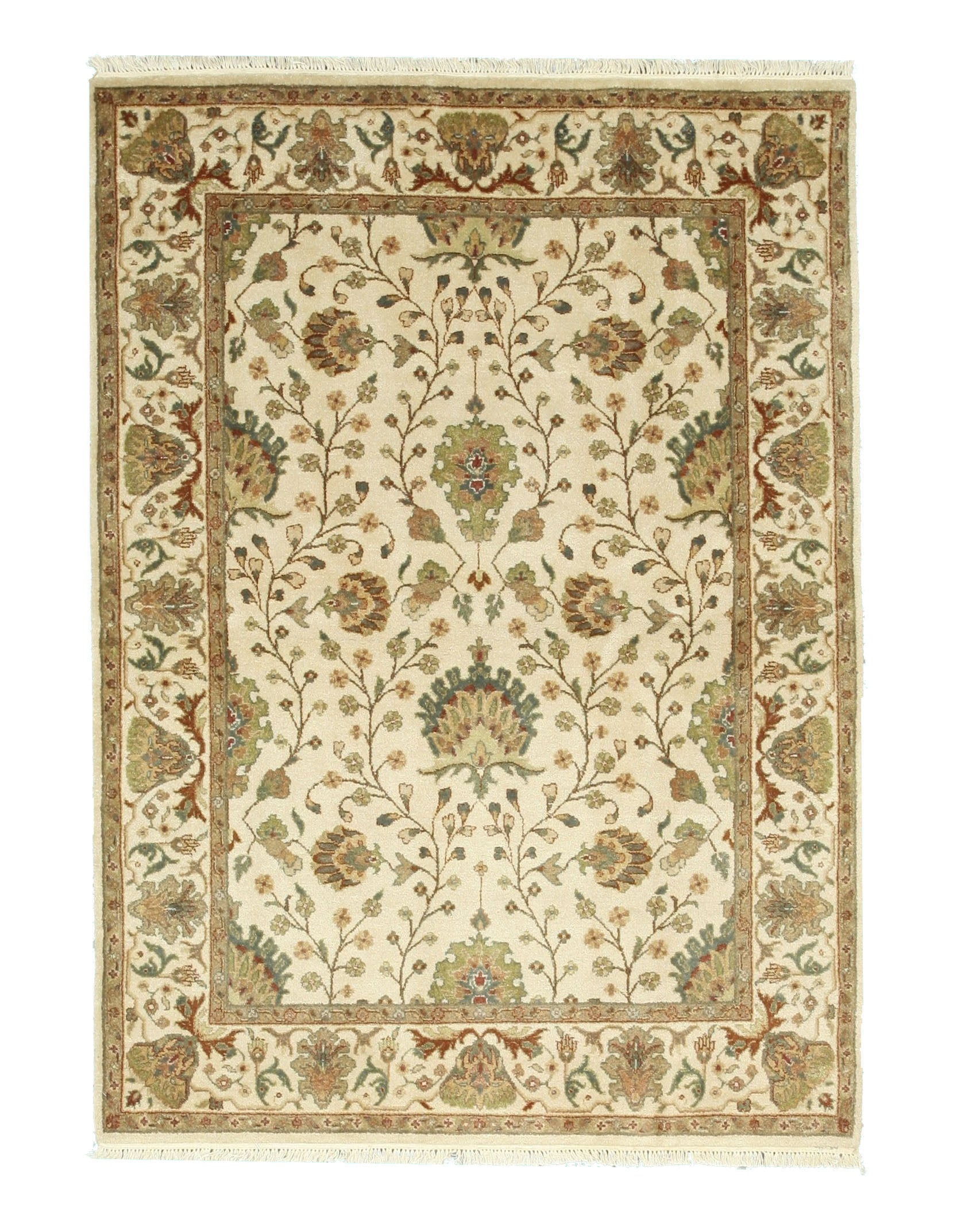 EORC Hand-knotted Wool Ivory Traditional Oriental Agra Rug