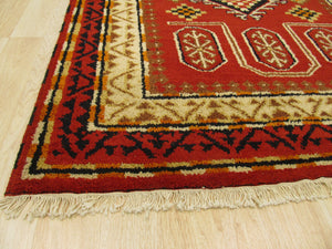 EORC Hand-knotted Wool Red Traditional Oriental Kazak Rug