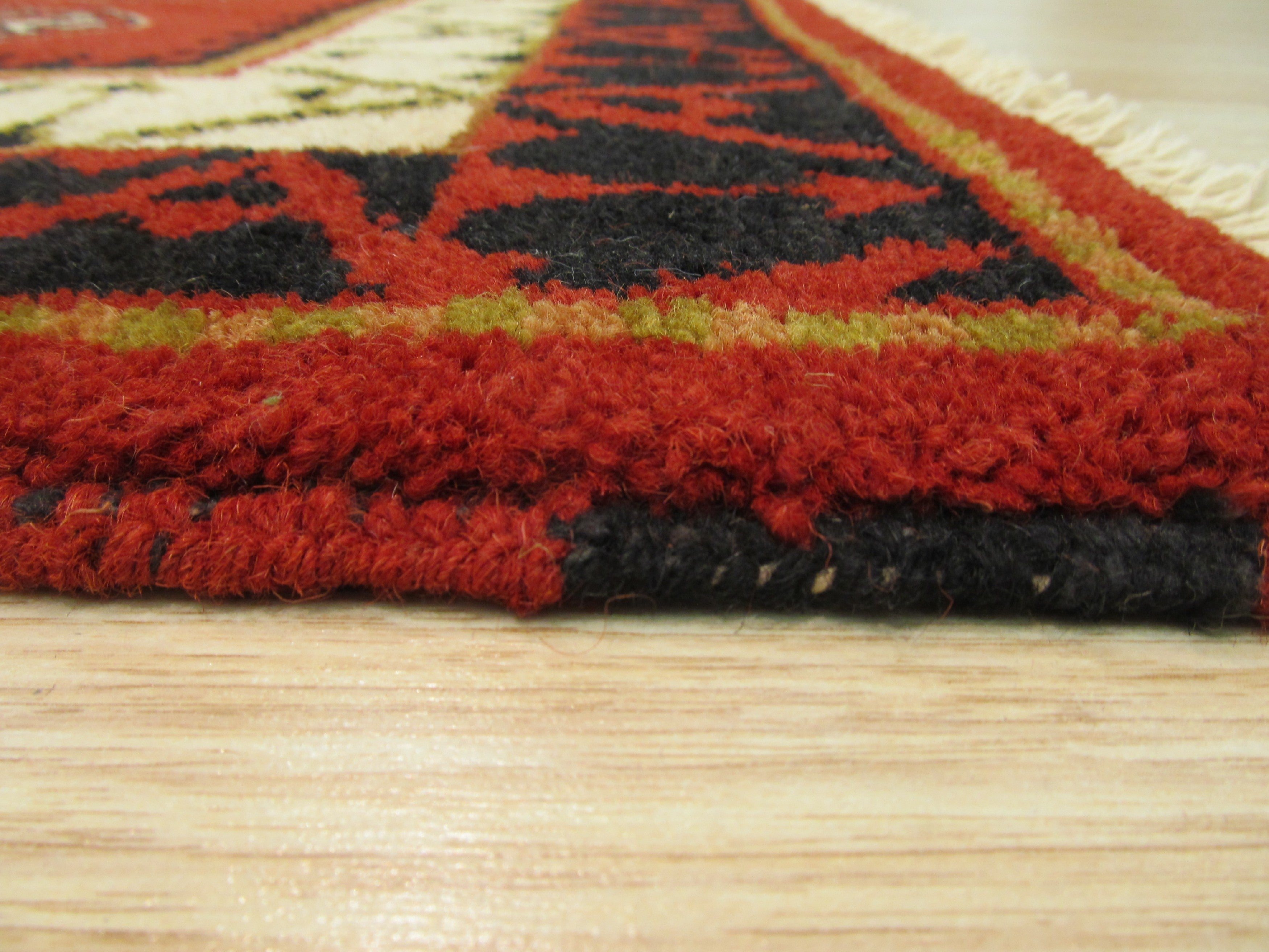 EORC Hand-knotted Wool Red Traditional Geometric Kazak Rug