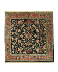 EORC Hand-knotted Wool Navy Traditional Geometric Heriz Rug