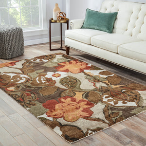 Jaipur Living Blue BL12 Brown Floral/Leaves Area Rug