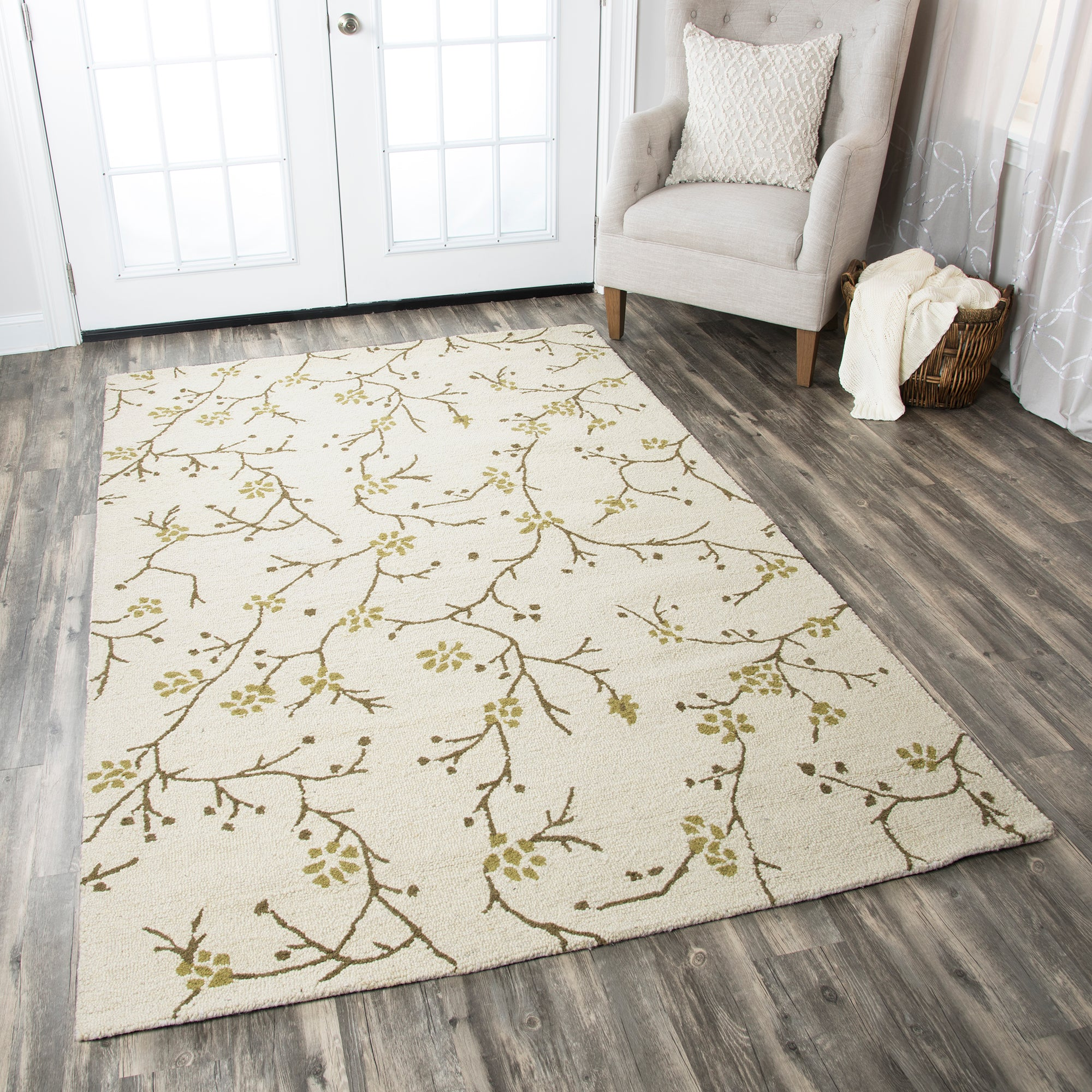 Rizzy Home Country CT1634 Ivory Floral Area Rug