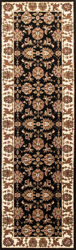 Kas Rugs Cambridge 7313 Black/Ivory Kashan Area Rug