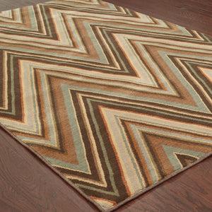 Oriental Weavers Casablanca Brown/Blue Geometric 4461B Area Rug