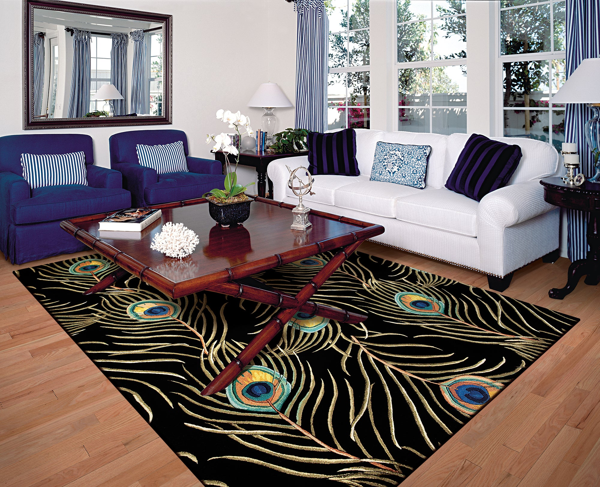 Kas Rugs Catalina 0738 Black Peacock Feathers Area Rug