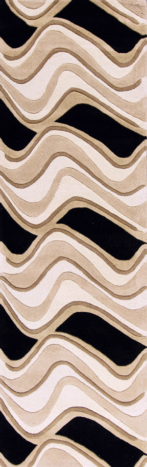 Kas Rugs Eternity 1071 Black/Beige Waves Area Rug