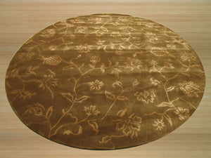 EORC Hand-tufted Wool & Viscose Brown Transitional Floral Contemporary Floral Rug