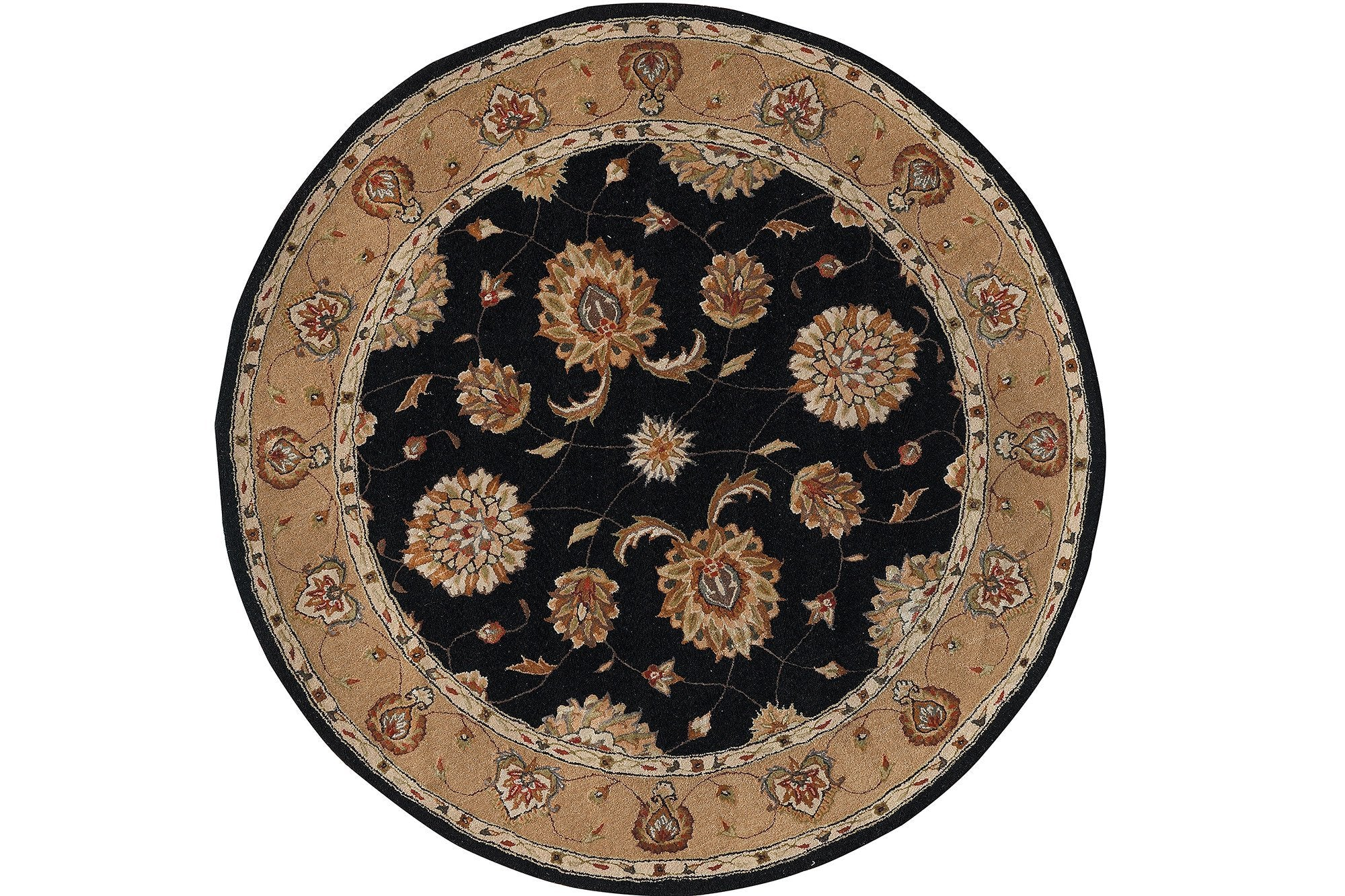 Dynamic Rugs Jewel Black Classic Round Area Rug