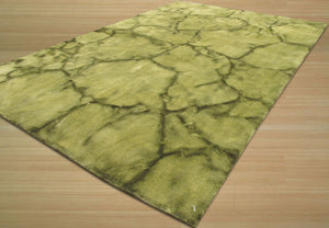 EORC Handmade Wool Green Contemporary Abstract Dip Dyed Rug
