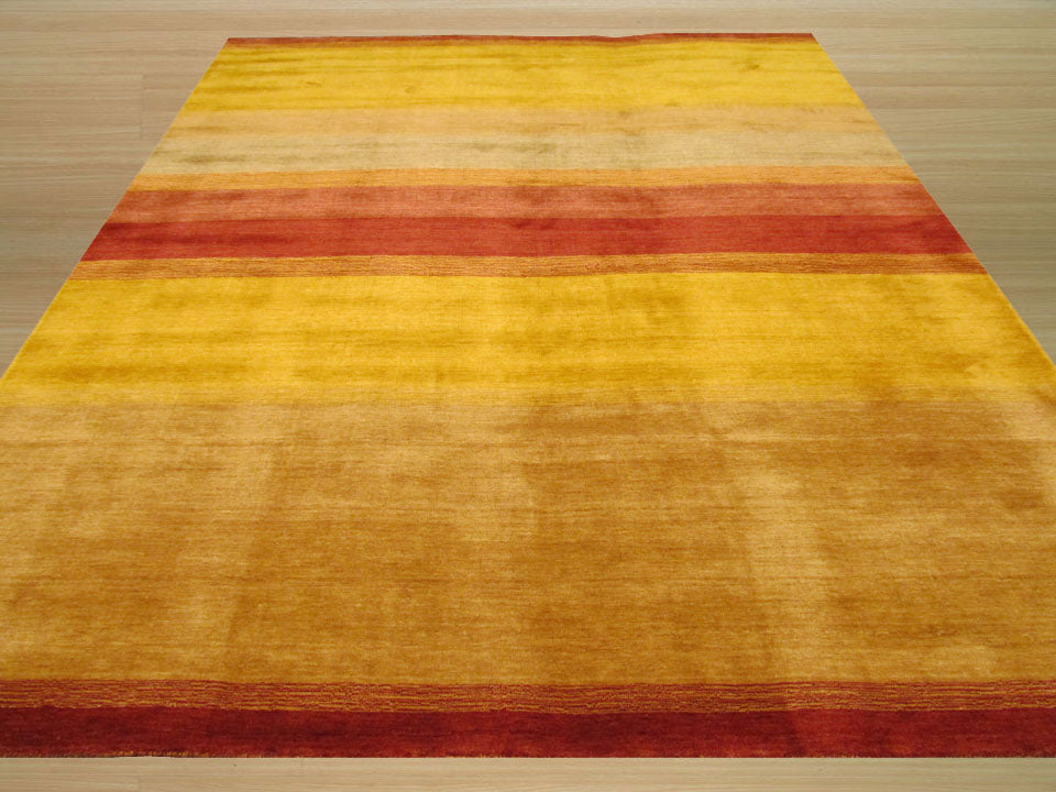EORC Handmade Wool Multicolored Contemporary Stripe Made Gabbeh Rug