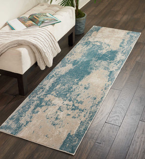 Nourison Maxell Ivory/Teal Area Rug