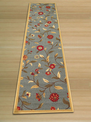 EORC Blue Traditional Floral Euro Home Rug