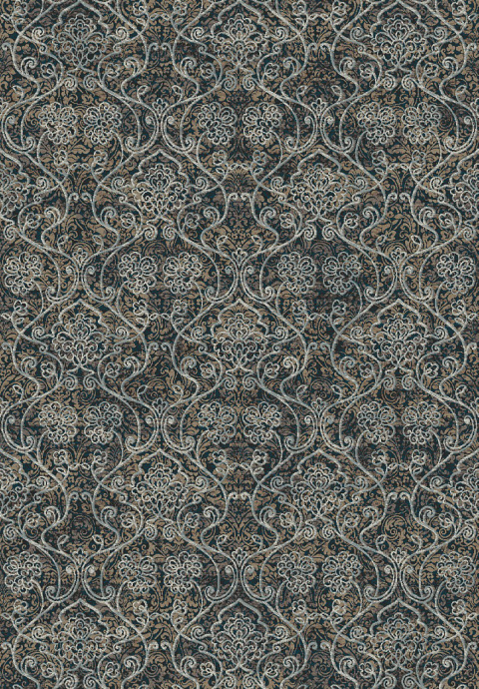 Dynamic Rugs Regal Taupe/Silver Medallion/Damask Rectangle Area Rug