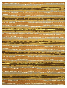 EORC Hand-knotted Wool Multicolored Contemporary Stripe Nepalese Rug