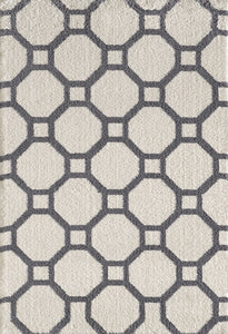 Dynamic Rugs Silky Shag White Geometric Rectangle Area Rug