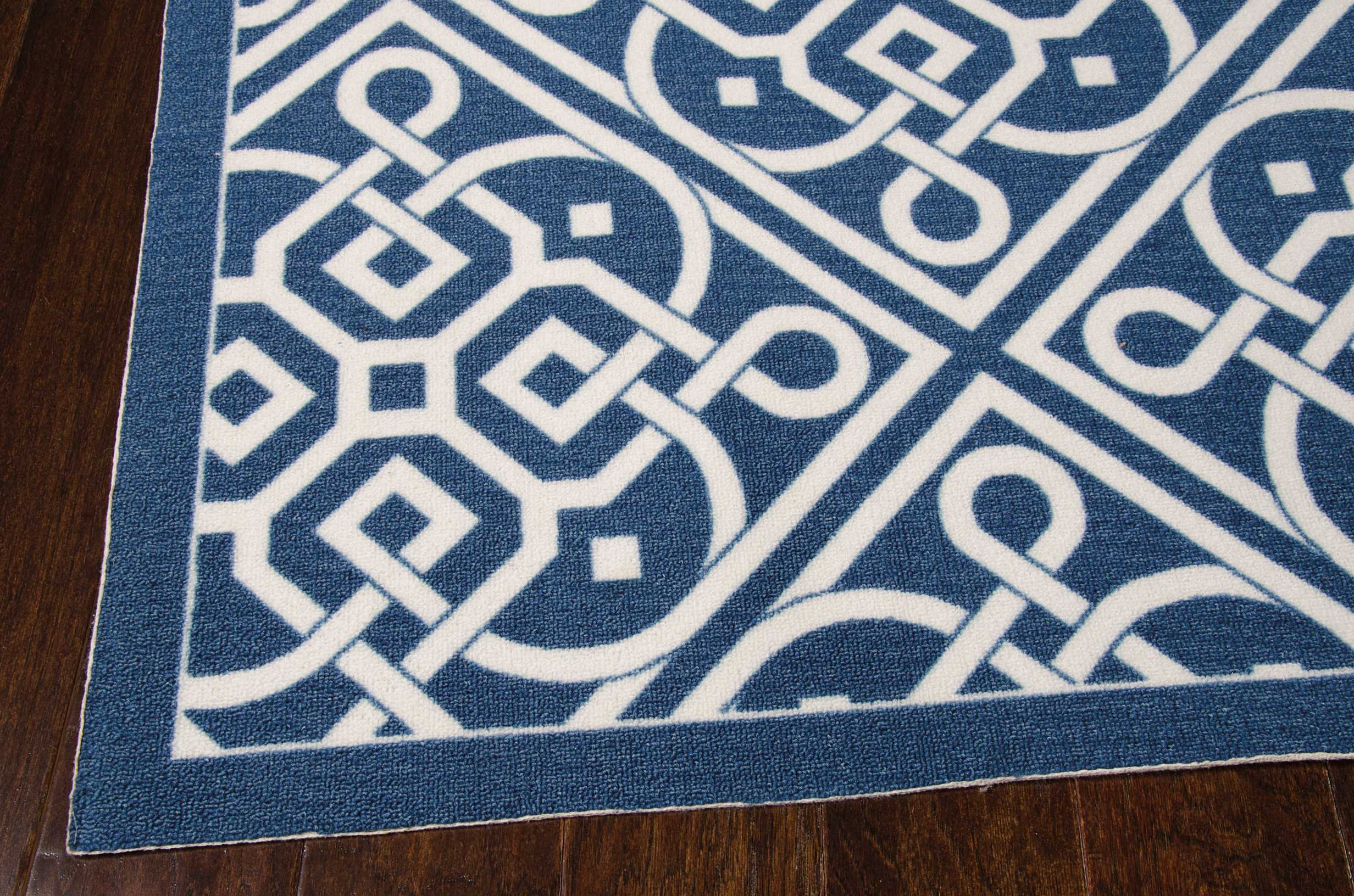 Waverly Sun & Shade Lace It Up Navy Indoor/Outdoor Area Rug by Nourison