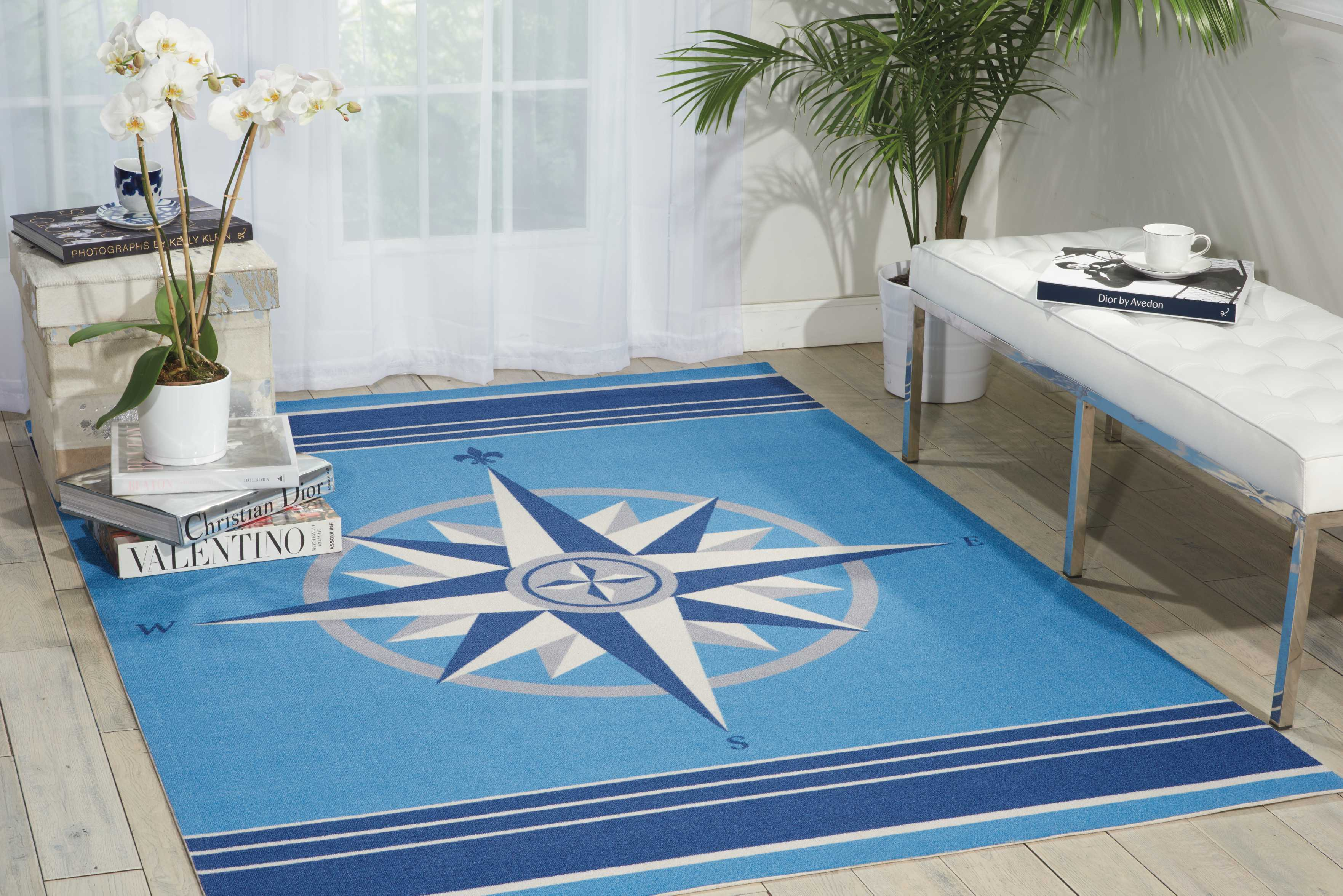 Waverly Sun & Shade Sailing Blue Indoor/Outdoor Area Rug by Nourison