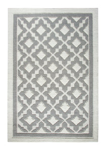 Dynamic Rugs Studio Ivory-Silver Geometric Rectangle Area Rug