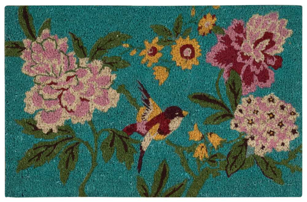 Waverly Greetings Floral Bird Aqua Doormat by Nourison