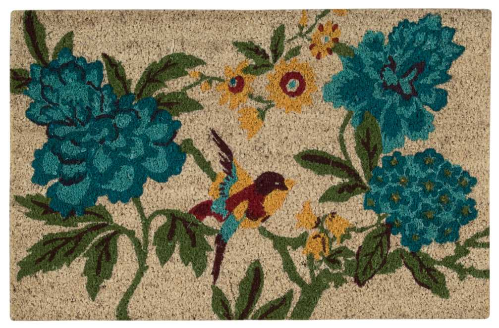 Waverly Greetings Floral Bird Blue Doormat by Nourison