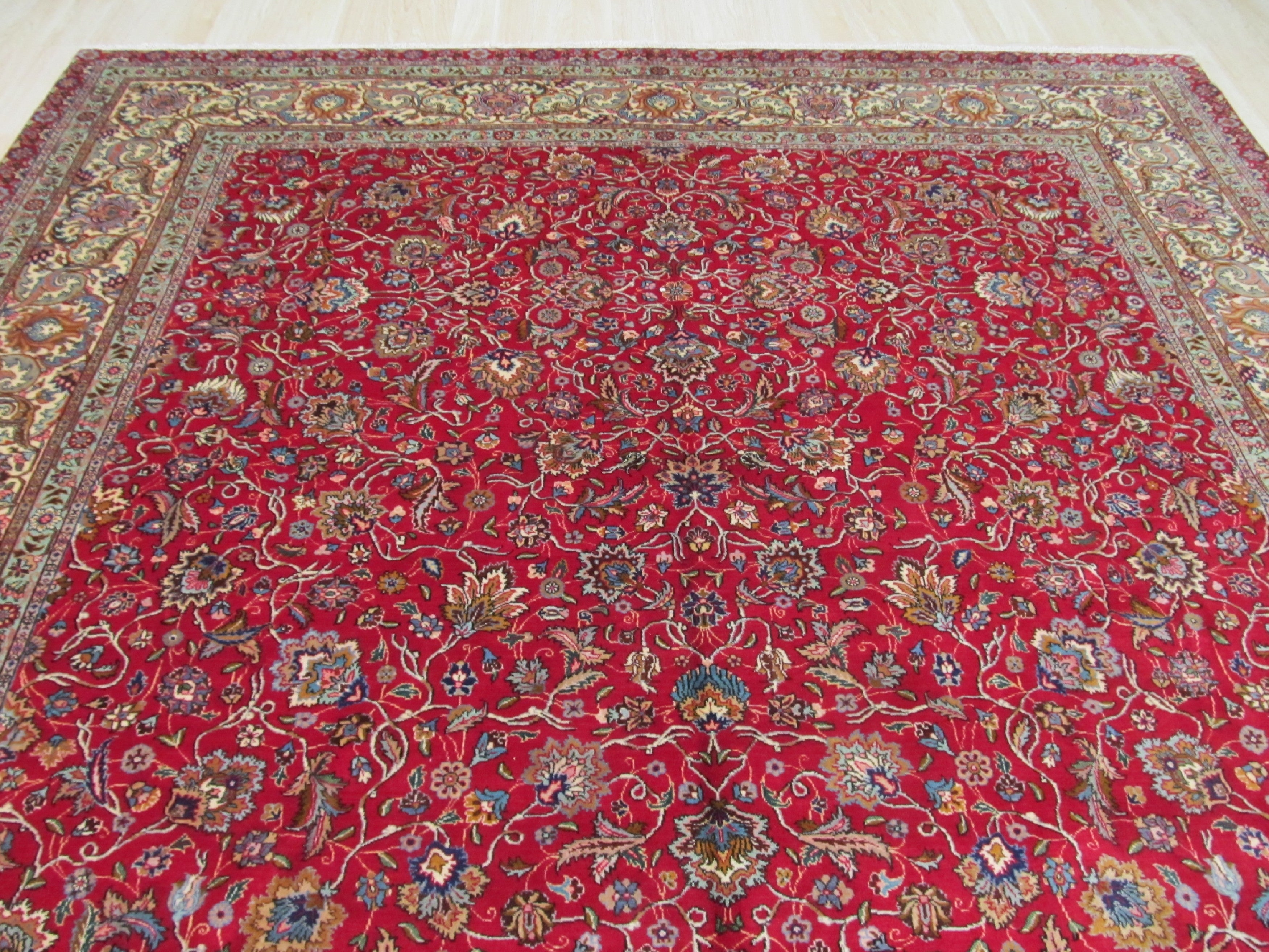 EORC Hand-knotted Wool Red Traditional Oriental Tabriz Rug