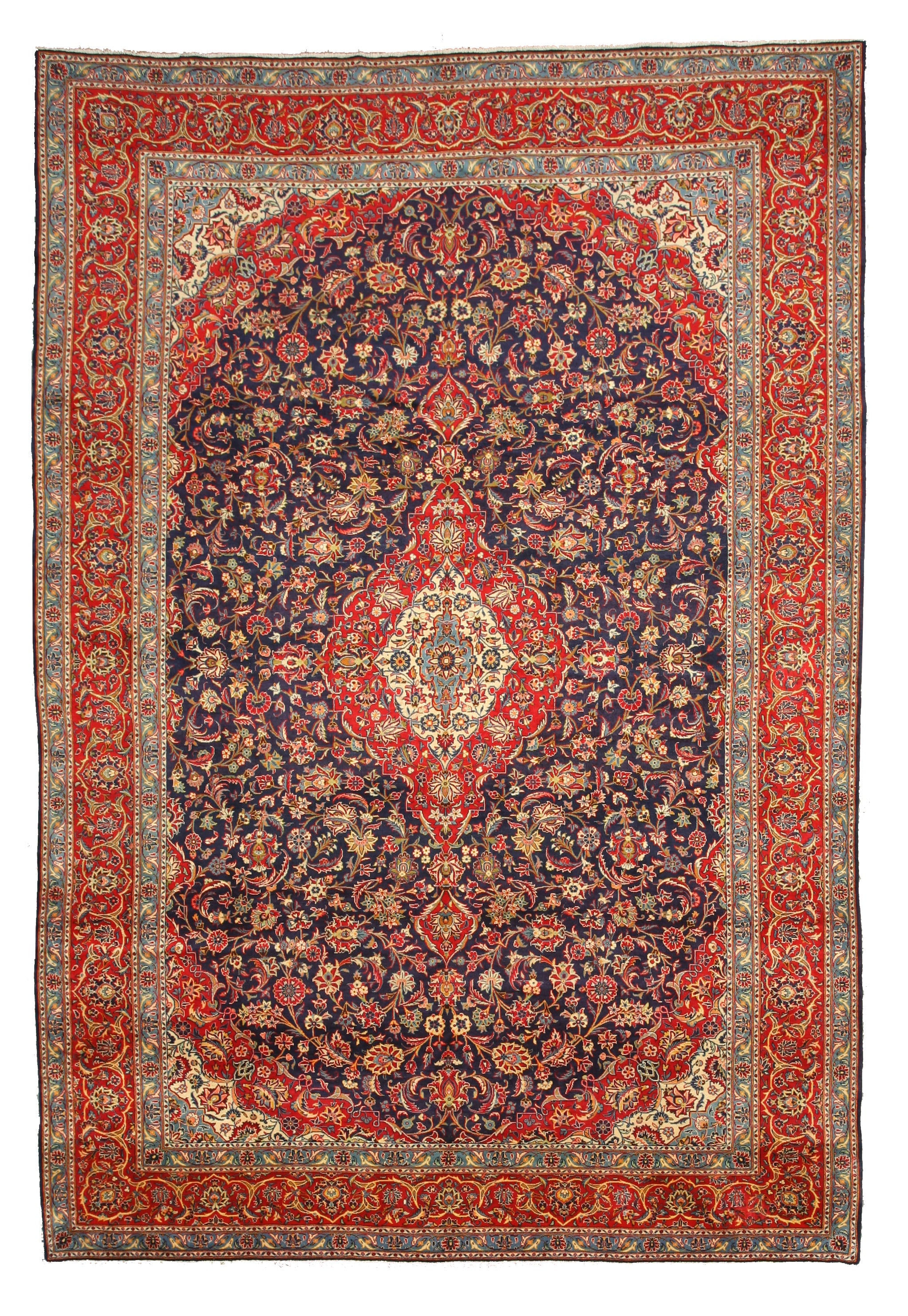 EORC Hand-knotted Wool Blue Traditional Oriental Kashan Rug