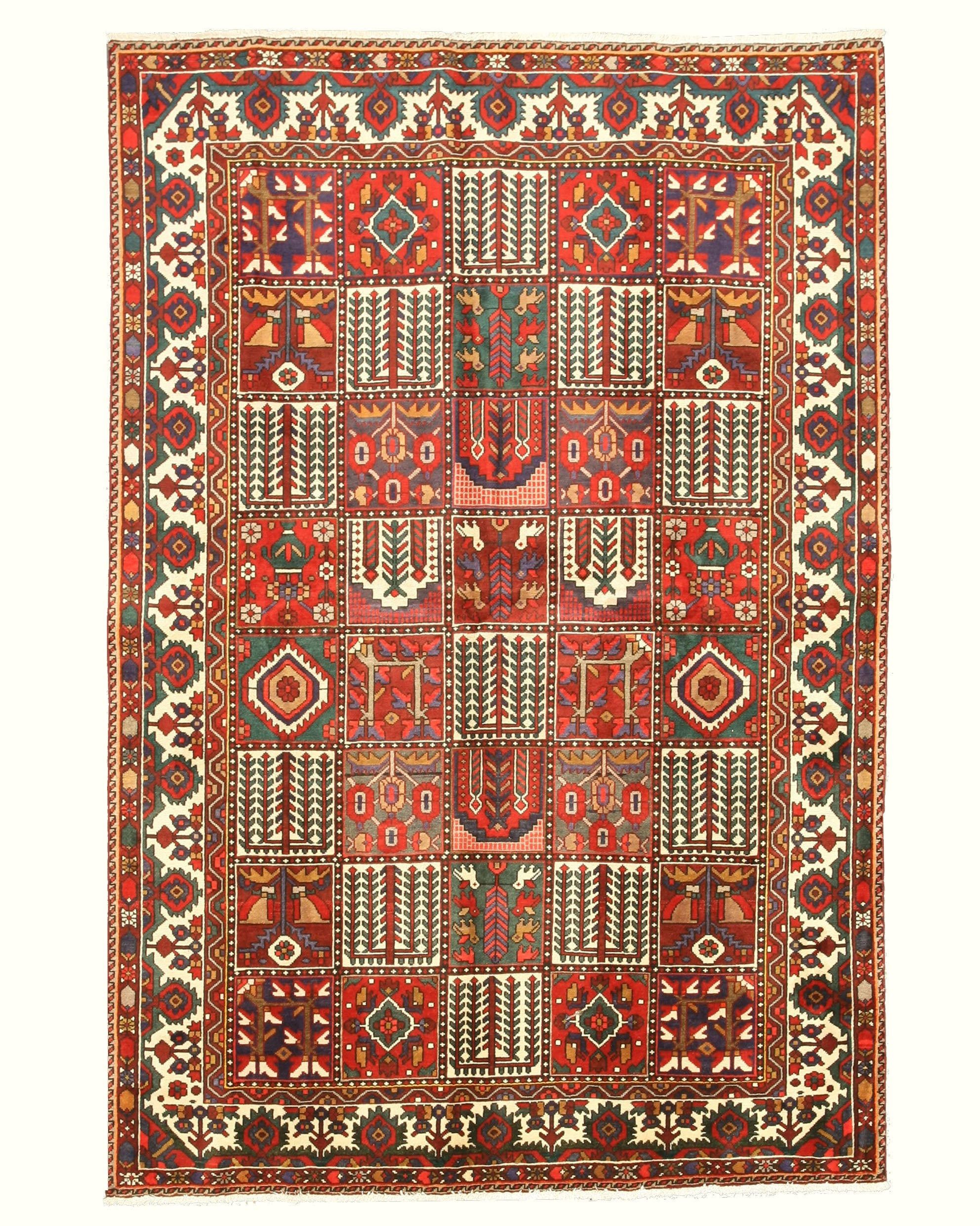 EORC Hand-knotted Wool Multicolored Traditional Oriental Bakhtiar Rug