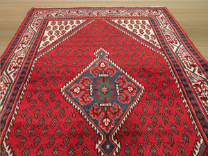 EORC Hand-knotted Wool Red Traditional Oriental Hamadan Rug