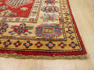EORC Hand-knotted Wool Red Traditional Geometric Super Kazak Rug