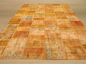 EORC Hand-knotted Wool Rust Transitional Oriental Turkish Patch Rug