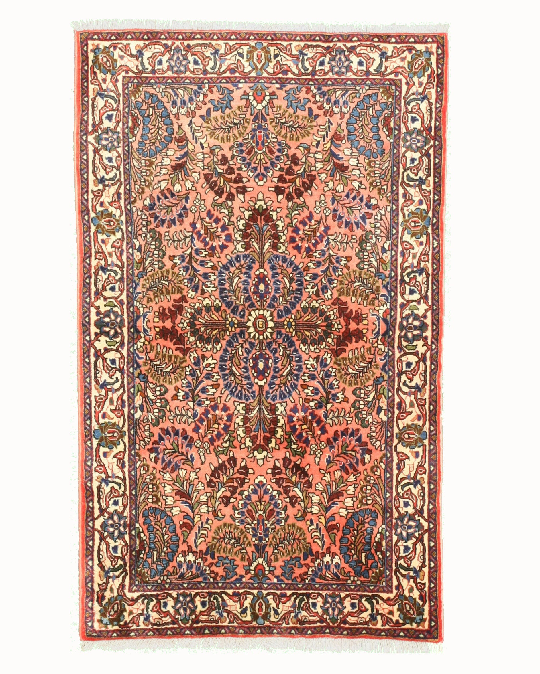 EORC Hand-knotted Wool Pink Traditional Oriental Sarouk Rug