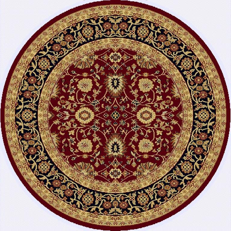 Dynamic Rugs Yazd Red-Black Classic Round Area Rug