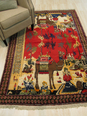 EORC Hand-knotted Wool Red Traditional Oriental Afshar Rug