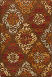 Surya Arabesque ABS3028 Brown/Purple Medallion and Damask Area Rug