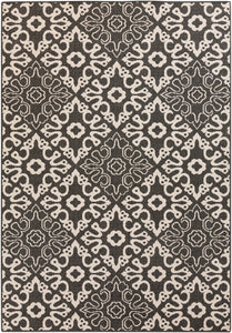 Surya Alfresco ALF9637 Black/Neutral Outdoor Area Rug