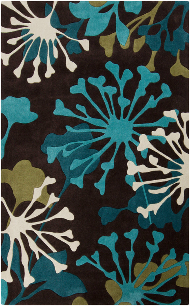Surya Cosmopolitan COS9198 Green/Brown Floral and Paisley Area Rug