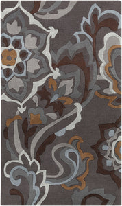 Surya Cosmopolitan COS9210 Grey/Blue Floral and Paisley Area Rug