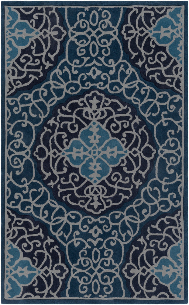 Surya Cosmopolitan COS9290 Blue/Grey Medallion and Damask Area Rug