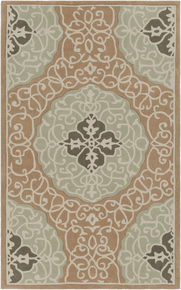 Surya Cosmopolitan COS9292 Green/Brown Medallion and Damask Area Rug