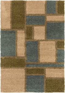 Surya Concepts CPT1736 Neutral/Green Contemporary Area Rug