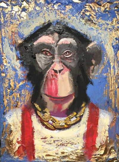 """Chimp with Red Suspenders"" by Scott Dykema  $300"