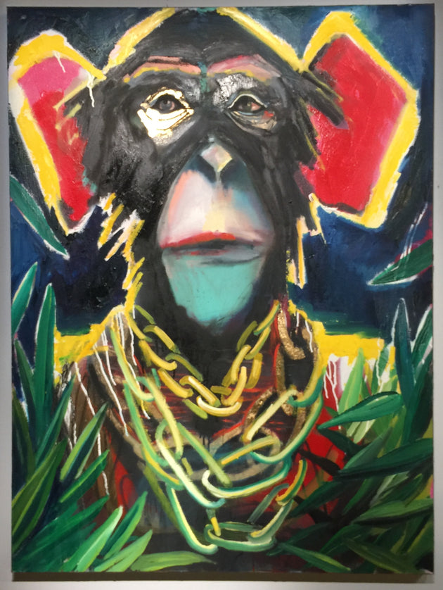 """A Modern Chimp"" by Scott Dykema  $1800"