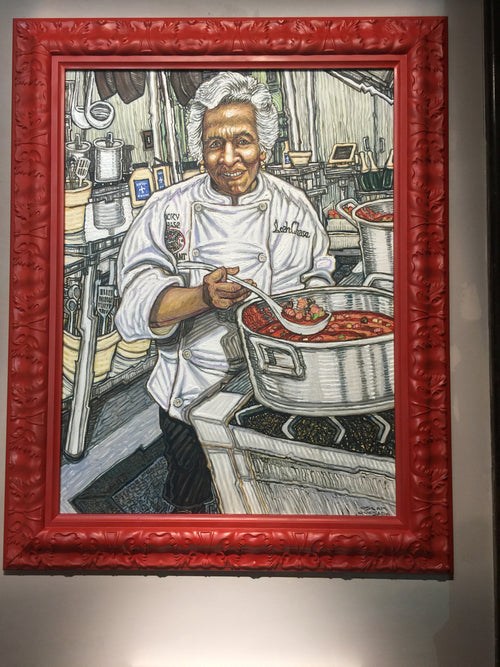 """ Portrait of Chef Leah Chase (Dooky Chase Restaurant, New Orleans, Louisiana.), "" by Oscar Quesada  $6300"