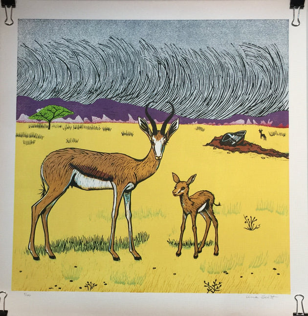"""Springboks and UFO: Namibian Triptych"" by Una Scott"