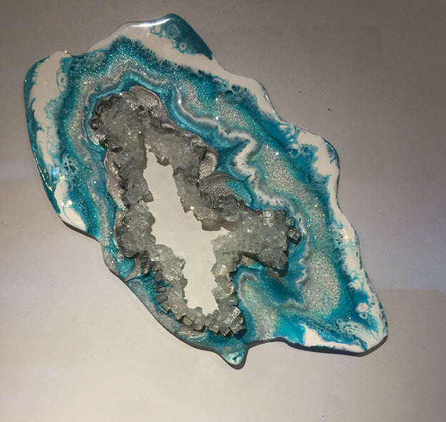 """Small Teal Geode Slice"" by Artist 'till Death Studio  $125"