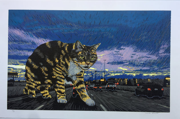 """Central Expressway Cat"" by Una Scott $160"