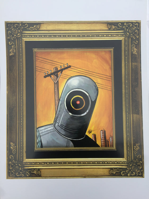 """Peeking Robot"" Print by William ""Bubba"" Flint  $45"